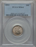 Barber Dimes: , 1893 10C MS64 PCGS. PCGS Population (55/63). NGC Census: (57/66).Mintage: 3,340,792. Numismedia Wsl. Price for problem fre...