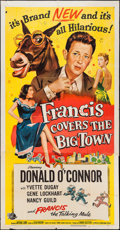 """Movie Posters:Comedy, Francis Covers the Big Town (Universal International, 1953). Three Sheet (41"""" X 79""""). Comedy.. ..."""