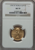 1994-W G$5 World Cup Gold Five Dollar MS70 NGC. NGC Census: (483). PCGS Population (79). Mintage: 22,464. Numismedia Wsl...