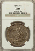 Trade Dollars: , 1878-S T$1 AU55 NGC. NGC Census: (72/535). PCGS Population(127/575). Mintage: 4,162,000. Numismedia Wsl. Price for problem...
