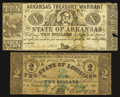 Obsoletes By State:Arkansas, (Little Rock), AR - Arkansas Treasury Warrant $10 Apr. 11, 1862;. Baton Rouge, LA - The State of Louisiana $2 Feb. 24, 1... (Total: 2 notes)