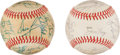Baseball Collectibles:Balls, 1981 National and American League All Star Game Team Signed Baseballs Lot of 2....