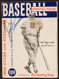 """Baseball Collectibles:Publications, 1958 """"Sporting News"""" Baseball Official Guide Signed by VariousPlayers...."""