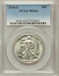 Walking Liberty Half Dollars: , 1936-S 50C MS64 PCGS. PCGS Population (729/910). NGC Census:(441/612). Mintage: 3,884,000. Numismedia Wsl. Price for probl...