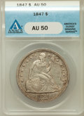Seated Dollars: , 1847 $1 AU50 ANACS. NGC Census: (38/271). PCGS Population (82/232).Mintage: 140,750. Numismedia Wsl. Price for problem fre...