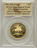 S.S.C.A. Relic Gold Medals, 1857/0 S.S. Central America 49er Horseman Restrike, Justh &Hunter Ten Dollar Gold, .906 Fine California Gold Proof DeepCameo...