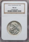 Commemorative Silver: , 1935/34 50C Boone MS64 NGC. NGC Census: (351/834). PCGS Population(645/955). Mintage: 10,008. Numismedia Wsl. Price for pr...