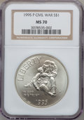 Modern Issues: , 1995-P $1 Civil War Silver Dollar MS70 NGC. NGC Census: (118). PCGSPopulation (146). Numismedia Wsl. Price for problem fr...