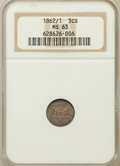 Three Cent Silver: , 1862/1 3CS MS63 NGC. NGC Census: (36/213). PCGS Population(63/253). Mintage: 343,000. Numismedia Wsl. Price for problem fr...