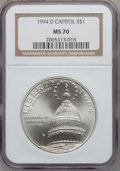 Modern Issues: , 1994-D $1 U.S. Capitol Silver Dollar MS70 NGC. NGC Census: (529).PCGS Population (355). Mintage: 68,352. Numismedia Wsl. P...