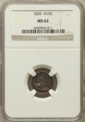 Seated Half Dimes: , 1839 H10C No Drapery MS62 NGC. NGC Census: (35/171). PCGSPopulation (22/140). Mintage: 1,069,150. Numismedia Wsl. Pricefo...