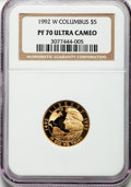 Modern Issues: , 1992-W G$5 Columbus Gold Five Dollar PR70 Ultra Cameo NGC. NGCCensus: (1345). PCGS Population (358). Mintage: 79,730. Numi...
