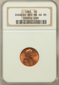 Lincoln Cents: , 1983 1C Doubled Die Reverse MS66 Red NGC. NGC Census: (223/122).PCGS Population (334/39). Numismedia Wsl. Price for probl...