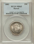 Coins of Hawaii: , 1883 25C Hawaii Quarter MS63 PCGS. PCGS Population (289/596). NGCCensus: (176/498). Mintage: 500,000. ...