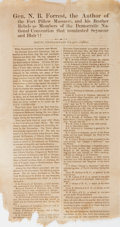 "Books:Americana & American History, [Slavery]. [Nathan Bedford Forrest]. Democratic National Convention1868 Broadside: ""N. B. Forrest, the Author of the Fort Pil..."
