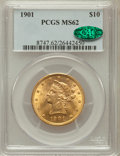 Liberty Eagles: , 1901 $10 MS62 PCGS. CAC. PCGS Population (5404/5986). NGC Census:(8331/9586). Mintage: 1,718,825. Numismedia Wsl. Price fo...