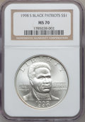 Modern Issues: , 1998-S $1 Black Patriots Silver Dollar MS70 NGC. NGC Census: (273).PCGS Population (197). Numismedia Wsl. Price for probl...