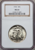 Walking Liberty Half Dollars: , 1936 50C MS65 NGC. NGC Census: (1128/680). PCGS Population(1892/930). Mintage: 12,617,901. Numismedia Wsl. Price for probl...
