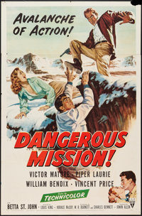 "Dangerous Mission (RKO, 1954). One Sheet (27"" X 41""). Thriller"
