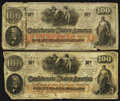 Confederate Notes:1862 Issues, T41 $100 1862 PF-20 Cr. 316A. T41 $100 1862 PF-25 Cr. 318A.. ...(Total: 2 notes)
