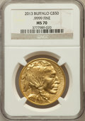 Modern Bullion Coins, 2013 G$50 One-Ounce American Buffalo MS70 NGC. .9999 Fine. NGCCensus: (202). PCGS Population (1)....