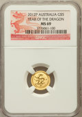 Australia, 2012-P G$5 Year of the Dragon MS69 NGC. NGC Census: (463/684). PCGSPopulation (523/0)....