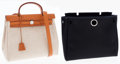 Art Glass:Daum, Hermes Sand and Black Toile & Vache Naturale Leather Herbag PMwith Palladium Hardware . ...