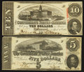 Confederate Notes:1863 Issues, $10 and $5 1863 Confederate Notes.. ... (Total: 2 notes)