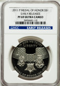 Modern Issues, 2011-P $1 Medal of Honor, Early Releases PR69 Ultra Cameo NGC. NGCCensus: (804/468). PCGS Population (218/96)....
