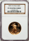 Modern Bullion Coins, 2005-W G$25 Half-Ounce Gold Eagle PR70 Ultra Cameo NGC. NGC Census: (1141). PCGS Population (231). Numismedia Wsl. Price f...