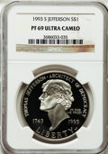 Modern Issues: , 1993-S $1 Jefferson Silver Dollar PR69 Ultra Cameo NGC. NGC Census:(2240/29). PCGS Population (1789/70). Mintage: 332,891....