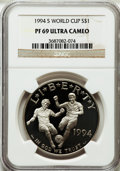 Modern Issues: , 1994-S $1 World Cup Silver Dollar PR69 Ultra Cameo NGC. NGC Census:(2207/113). PCGS Population (2495/102). Mintage: 576,97...