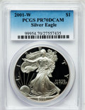 Modern Bullion Coins: , 2001-W $1 Silver Eagle PR70 Deep Cameo PCGS. PCGS Population(1080). NGC Census: (3540). Numismedia Wsl. Price for problem...