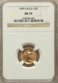 Modern Bullion Coins: , 1999 G$5 Tenth-Ounce Gold Eagle MS70 NGC. NGC Census: (1468). PCGSPopulation (138). Numismedia Wsl. Price for problem fre...