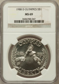 Modern Issues: , 1988-D $1 Olympic Silver Dollar MS69 NGC. NGC Census: (1850/67).PCGS Population (2000/60). Mintage: 191,000. Numismedia Ws...