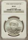 Modern Issues: , 1998-S $1 Robert F. Kennedy Silver Dollar MS69 NGC. NGC Census:(2017/724). PCGS Population (2402/233). Numismedia Wsl. Pr...