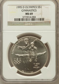Modern Issues: , 1995-D $1 Olympic/Gymnastics Silver Dollar MS69 NGC. NGC Census:(1160/278). PCGS Population (1900/231). Numismedia Wsl. P...