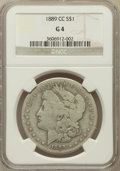 Morgan Dollars: , 1889-CC $1 Good 4 NGC. NGC Census: (84/3546). PCGS Population(130/5404). Mintage: 350,000. Numismedia Wsl. Price for probl...