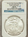 Modern Bullion Coins, 2013-(S) $1 One-Ounce Silver American Eagle, Struck at SanFrancisco Mint, Early Releases MS70 NGC. NGC Census: 0 in 70 (5...