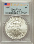 Modern Bullion Coins, 2009 $1 Silver Eagle First Strike MS70 PCGS. PCGS Population(19515). NGC Census: (8808)....