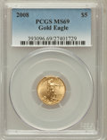 Modern Bullion Coins, 2008 G$5 1/10 Oz Gold Eagle MS69 PCGS. PCGS Population (229/60).NGC Census: (1129/1167). Numismedia Wsl. Price for proble...