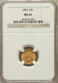 Gold Dollars: , 1860 G$1 MS63 NGC. NGC Census: (20/17). PCGS Population (15/24).Mintage: 36,668. Numismedia Wsl. Price for problem free NG...
