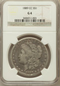 Morgan Dollars: , 1889-CC $1 Good 4 NGC. NGC Census: (83/3540). PCGS Population(130/5404). Mintage: 350,000. Numismedia Wsl. Price for probl...