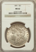 Morgan Dollars: , 1891 $1 MS62 NGC. NGC Census: (1444/3507). PCGS Population(2012/4827). Mintage: 8,694,206. Numismedia Wsl. Price for probl...