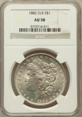Morgan Dollars: , 1882-O/S $1 AU58 NGC. NGC Census: (581/1903). PCGS Population(169/1674). Mintage: 1,039. Numismedia Wsl. Price for problem...