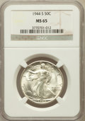 Walking Liberty Half Dollars: , 1944-S 50C MS65 NGC. NGC Census: (1238/200). PCGS Population(2567/425). Mintage: 8,904,000. Numismedia Wsl. Price for prob...