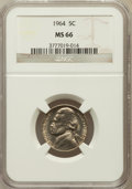 Jefferson Nickels: , 1964 5C MS66 NGC. NGC Census: (119/7). PCGS Population (40/0).Mintage: 1,000,000,000. Numismedia Wsl. Price for problem fr...