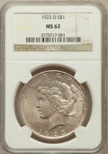 Peace Dollars: , 1923-D $1 MS62 NGC. NGC Census: (392/2198). PCGS Population(610/3363). Mintage: 6,811,000. Numismedia Wsl. Price for probl...