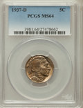 Buffalo Nickels: , 1937-D 5C MS64 PCGS. PCGS Population (979/5462). NGC Census:(318/3311). Mintage: 17,826,000. Numismedia Wsl. Price for pro...