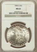 Morgan Dollars: , 1890-S $1 MS63 NGC. NGC Census: (2696/2552). PCGS Population(3496/3753). Mintage: 8,230,373. Numismedia Wsl. Price for pro...